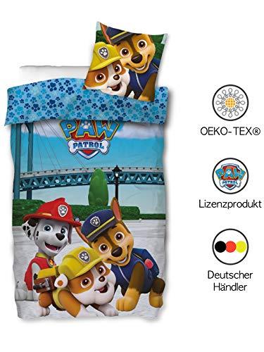 SkyBrands Paw Patrol Bettwäsche Kinderl 135x200 cm 80x80 cm Jungen 100% Baumwolle | Kinder-Bettwäsche Jungen | Blaue Wendebettwäsche | Deutsche Standardgröße mit ÖKO-TEX Siegel