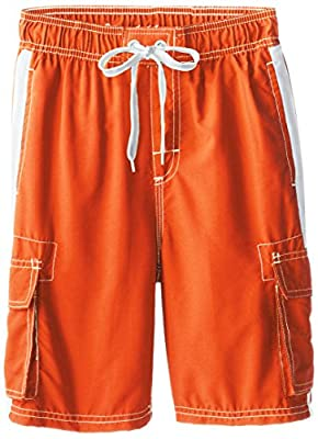 Kanu Surf Boys' Big Quick Dry UPF 50+ Beach Swim Trunk, Barracuda Orange, 14/16