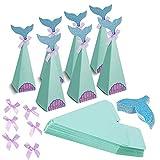 20 Pcs Cajas de Fiesta de Sirena Bolsas de Regalo de Sirena Caja de Papel de Caramelo para Nios Fiesta Decoraciones de Sirena Cajas con Decoracin de Sirena para Caramelo(Azul)