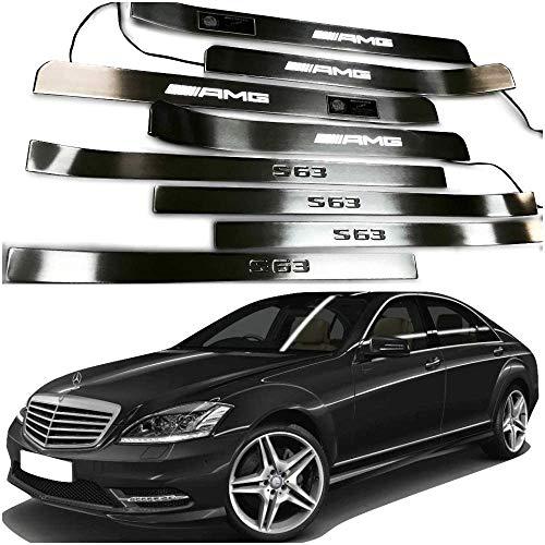 Mercedes-Benz AMG W221 S222 S63 S500 S550 S65 S Klasse Eingangsleisten LED-beleuchtete Einstiegsleisten Innenverkleidung 8 Stk. Edelstahl poliertes Chrom-Weißzeichen
