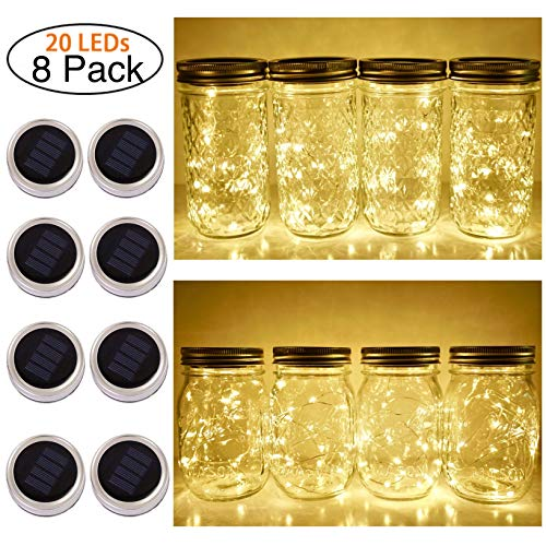 Solar Mason Jar Lid String Lights, 8 Pack 20 Led String Fairy Star Firefly Jar Lids Lights (Jars Not Included), for Mason Jar Patio Garden Wedding Lantern Table Decoration( No Hangers (Warm Wite)