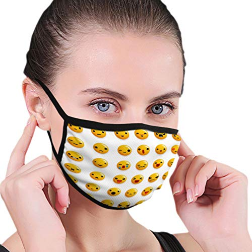 NoneBrand Mouth Cover Cotton Face Cover Unisex cute emoticon smile emoji icons set isolated d real