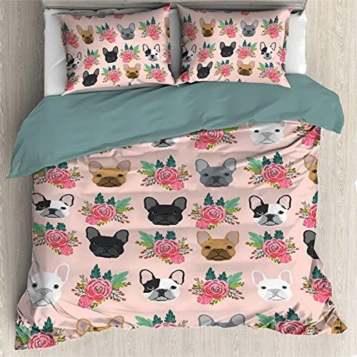 Lynnezilla Duvet Cover 3 Pieces Bedding Set French Bulldog Faces Bedspread Comforter Set Bed Cover All Season , 1 Duvet Cover + 2 Pillowcase - Full Size (80'x90',200x230cm)