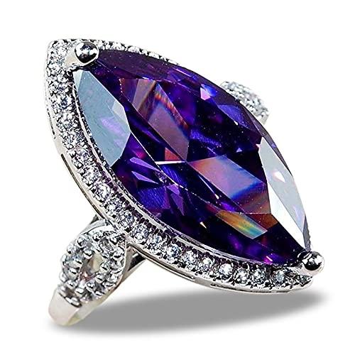 KEJI Anillos de fiesta de piedra púrpura brillante de lujo vintage ojo de diablo símbolo micro pavimentado cóctel fiesta anillos para las mujeres