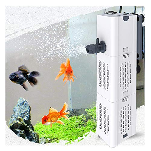 Ultra Quiet Fish Tank Filter 4-in-1 Internal Aquarium Filter,500-1800L/H Submersible Water Pump Oxygen Aeration Wave Maker Water Change for Betta, Turtle, Pond Fish, Garden. (6W 134GPH (500L/H))