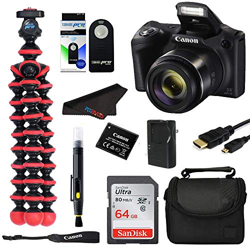Canon PowerShot SX420 Digital Camera w/42x Optical Zoom - Wi-Fi & NFC Enabled (Black) - Digital Camera Bundle Kit with Spider Tripod (Red) and 64 GB Memory Card