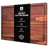 Walnut Cutting Board by Mevell, Handmade in Canada, Large Wood Cutting Board for Kitchen, Reversible...