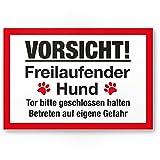 Vorsicht freilaufender Hund (weiß-rot) - Hunde Kunststoff Schild, Hinweisschild Gartentor/Gartenzaun - Türschild Haustüre, Warnschild Abschreckung/Einbruchschutz - Achtung Hund