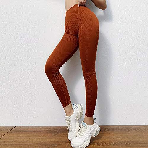 B/H Leggins Pantalon Deporte Yoga,Pantalones de Yoga de Cintura Alta de Nalgas de melocotón Sexy Pantalones de Fitness de Yoga de Punto sin Costuras-Orange_L