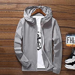 qwertyu Men Waterproof Wind Breaker Coat Zipper Hoodie Jacket Quick Drying Sport Outwear