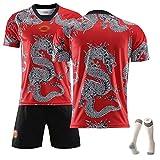 XZM Asombroso Uniforme de fútbol del Dragón Chino, Camiseta de fútbol Manchester United Memorial, Uniforme de Entrenamiento, adecuados (niños Adultos) 99% poliéster-Red-XL