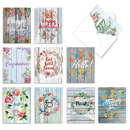 Blooming Driftwood - 10 Assorted Occasion Note Cards with Envelopes (4 x 5.12 Inch) - Beautiful Painted Wood Designs, Floral Theme - Thank You, Birthday, and Hello Greeting Cards AM6108XXG-B1x10