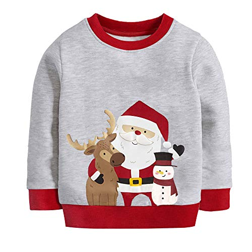 Kids Boys Sweatshirts Xmas Fall Winter Pullover Toddler Cotton Tops Crew Neck Hoodie for Size 5 6