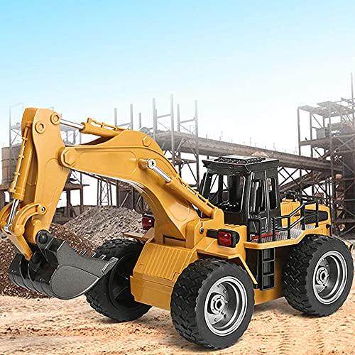 Moerc Control remoto Excavadora para niños 6 canales Totalmente funcional Control remoto Truco de construcción 1:18 2.4 Ghz Die Cast RC Dump camión excavadora excavadora de juguete eléctrico para niño