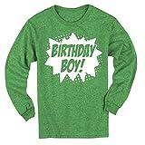 Happy Family Clothing Superhero Birthday Boy Comic Book Hero Party Long Sleeve T-Shirt (5/6T, Green Heather)
