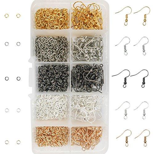 TOAOB 1150 Piezas 5 Colores 18 mm Aleación Pendientes Gancho para Pendientes con Bola y 4 mm Anillos de Salto Abiertos utilizan para Hacer Joyas