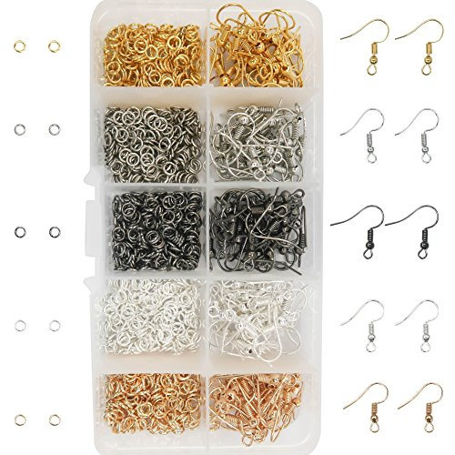 TOAOB 1150pcs Mixed Colors 18mm Earring Hooks and 4mm Open Jump Rings With Box for Earring Making