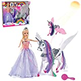 Color Change Unicorn and Fairy Tale Princess Doll, W/ Mane Brush, Girls' Unicorn Doll Toys Gifts, Presents for Girl Kids Aged 3+ (Color Changing White Unicorn)
