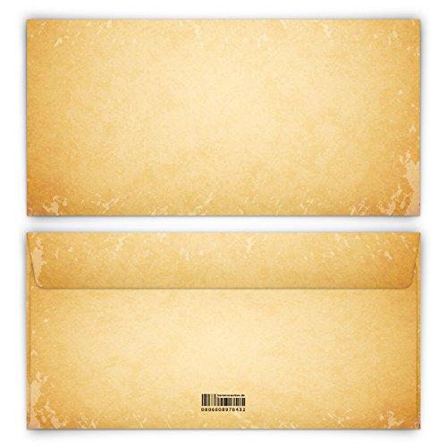 Briefumschläge 30 Stück DIN-Lang - Vintage für Einladungskarten alt Kuvert Briefumschlag selbstklebend ohne Fenster