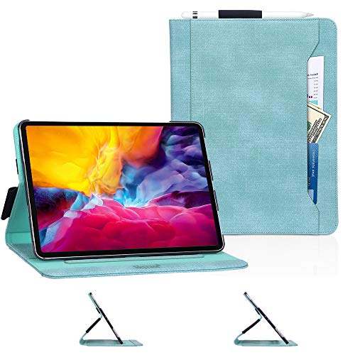 Skycase iPad Pro 11 Case (2020), iPad Pro 11 2nd Generation Case,[Support Apple Pencil Charging] Auto Dormancy Canvas Multi-Angle Viewing Stand Folio Case for Apple iPad Pro 11 inch 2020,Mint Green