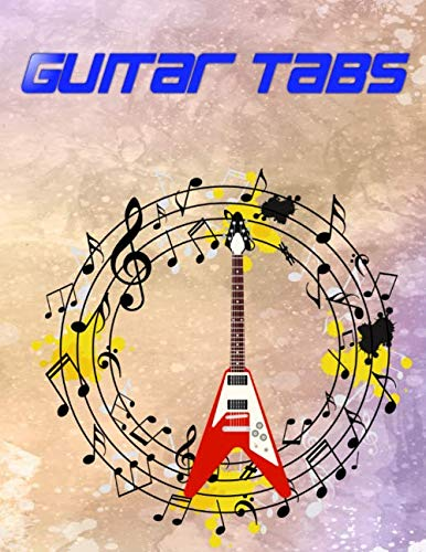 """Guitar Tabs: Guitar Tab Paper Notebook 108 Page Size 8.5x11"""" Matte Cover Design Cream Paper Sheet ~ Authentic - Bass # Play Quality Print."""