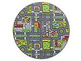HEVO Stadt Mix Strassen Spielteppich | Kinderteppich 160 cm Ø Rund