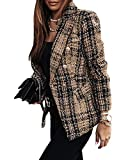 Onsoyours Chaqueta de Mujer Abrigos Otoño Moda A Cuadros Casual Manga Larga con Bolsillos Botonadura Slim Fit Oficina Negocios Otoño Invierno A Caqui L
