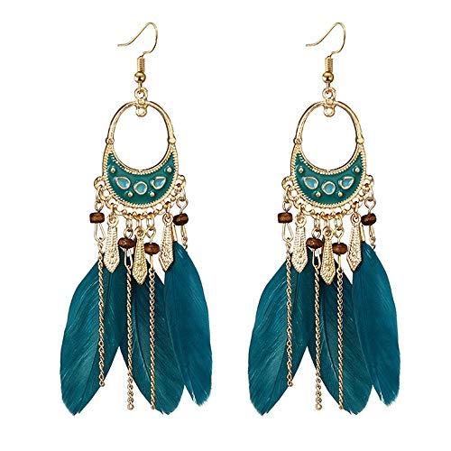 Damen Ohrringe Schmuck Geschenke PersöNlichkeit Retro Temperament Ohrringe Mode Trend Weibliche Feder Ohrringe AnhäNger OhrhäNger Grün