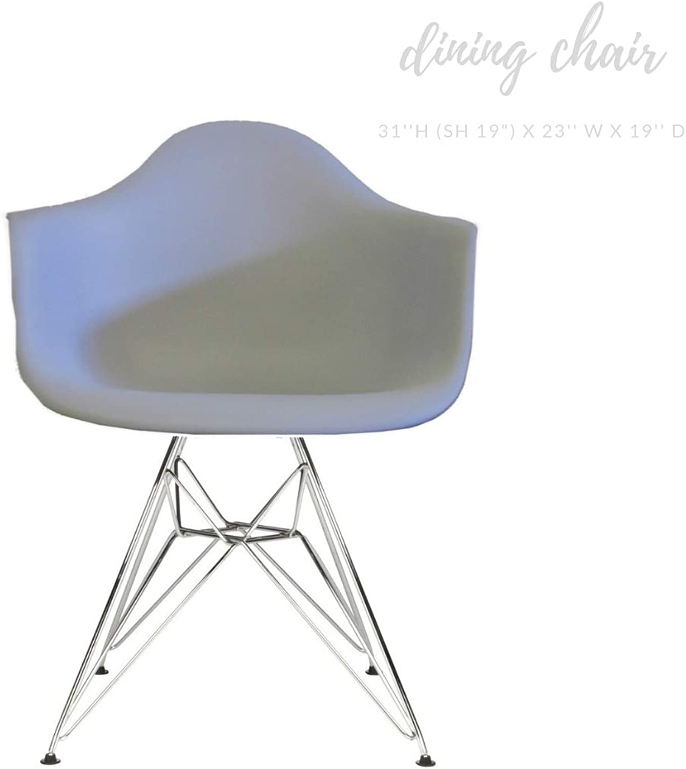 Take Me Home Furniture Eiffel Style Bucket Chair with Chrome Legs, Light Grey, Dining Chair