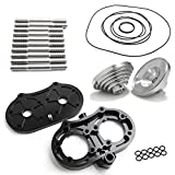 KUSTOMACC Aftermarket Cool Head Kit for Yamaha Banshee 350 1987-2012, Including Aluminum 17cc Domes and O-rings, Fit 64mm - 66mm Standard Cylinder Bore, Black