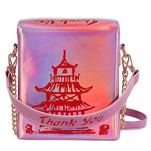 PTMD Women Girl Tower Print PU Leather Handbag Holographic Shoulder Messenger Crossbody Bag Satchel Tote Purse