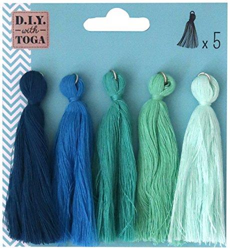 D.I.Y with Toga MBJ025, Lot de 5 Maxi Pompons, Coton, Multicolore, 0.5 x 8 x 0.5 cm