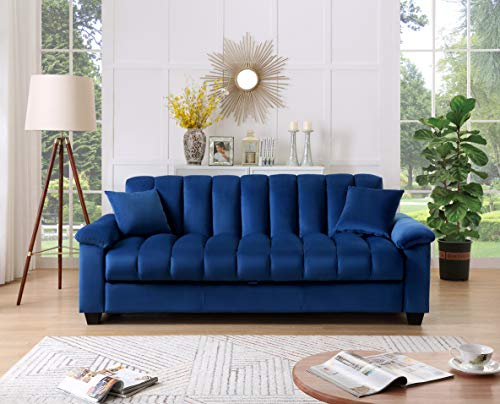 Legend Furniture Comfortable Velvet Storage Sofa Bed Sleeper Sofabed, Blue