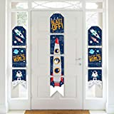 Big Dot of Happiness Blast Off to Outer Space - Hanging Vertical Paper Door Banners - Rocket Ship Baby Shower or Birthday Party Wall Decoration Kit - Indoor Door Decor