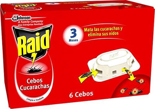 Raid  Cebos - Trampas anticucarachas. Elimina cucarachas, nidos y huevos. Incluye 6 cebos