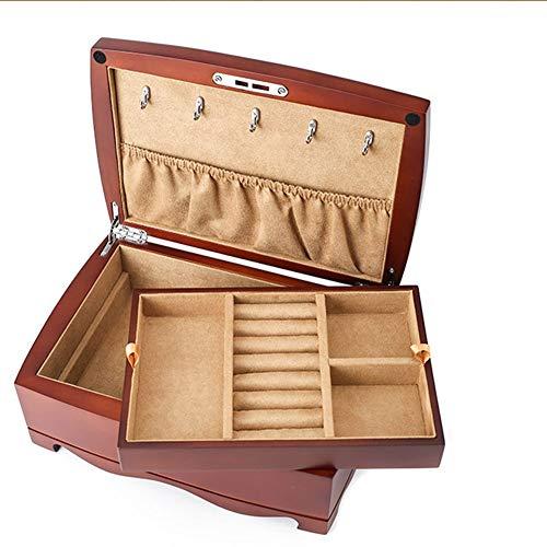 EIU sieradendoosje Houten meerlagige sieradendoos met slot zet ketting Armband Oorbellen Bruiloft Sieraden Sieraden W12/12