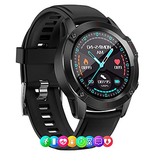 Smartwatch Reloj Inteligente IP68 Con Pantalla Táctil De 1.28'', Pulsera Actividad Inteligente Hombre Para Deporte, Monitor De Actividades, Podómetro, Cronómetros, Compatible Con Ios Android,Negro
