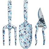 Copper Spade Decorative Aluminum Garden Tool Set - Trowel, Secateurs, Fork (Watercolor Purple)