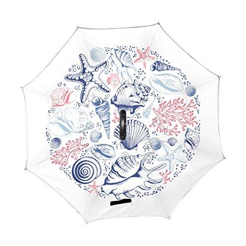 Jeansame umgekehrter Regenschirm, doppellagig, winddicht, mit C-förmigem Griff, für Auto, Herren, Damen, Ozean, Meer, Mediterran, Fische, Muscheln, Vintage
