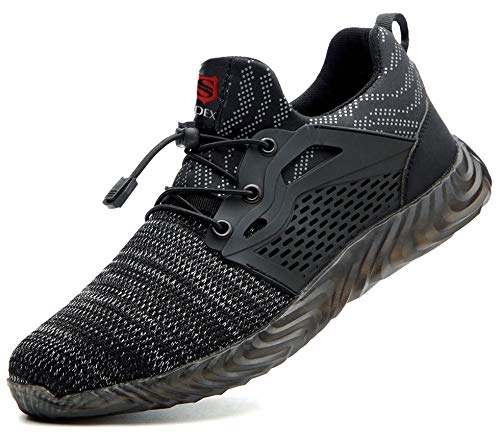 [SUADEX] 安全靴 スニーカー 作業靴 ワーキングシューズ 鋼先芯 通気性 耐油 セーフティーシューズ 耐滑 衝撃吸収 耐摩耗 メンズ レディース 830 グレー 37