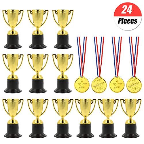 YuChiSX 24 Piezas de trofeos de medallas Set,12 x Mini Trofeo de plástico de Oro,12 x medallas ganadoras para Favores Adornos de Fiesta