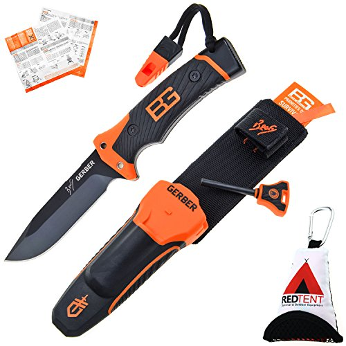 Gerber Bear Grylls Ultimate Pro Knife, Couteau de survie avec étui, feu Starter, aiguiseur, sifflet & survila lguide, avec le redtent Outdoor multifonction Chiffon en microfibre