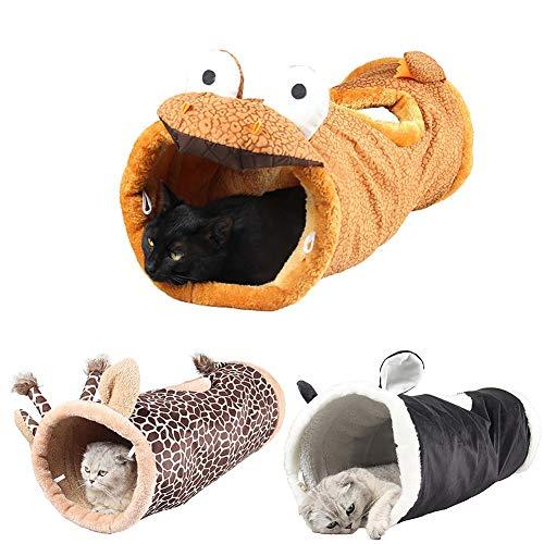 BerryChips Faltbarer Katzenspielzeug-Tunnel mit Eingebautem Crinkle-Papier und Glocke, Faltbares Giraffen-Rascheltunnel-Katze Interaktives Spielzeug für Katzen, Welpen, Kleintiere, Kaninchen, 70x24cm