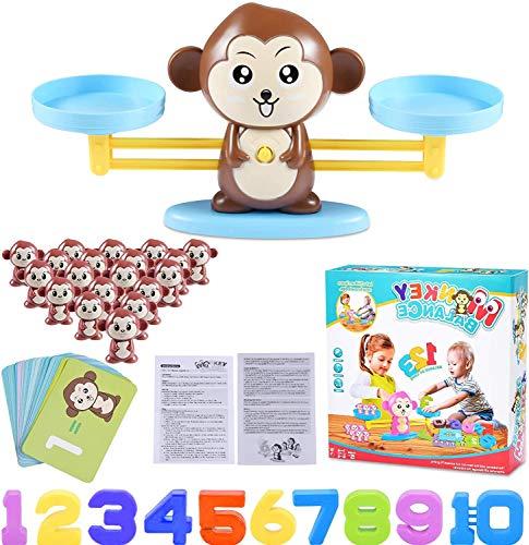 Funmo Juguete de Matemáticas, Monkey Balanza De Equilibrio,Balanza Digital De Mono, Niños Educación Temprana, Herramienta de Enseñanza para Niños Juego de Mesa Familiar
