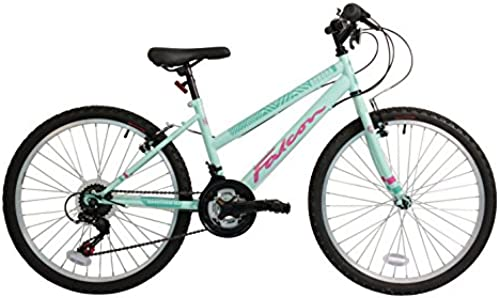 FALCON Kinder-Mountainbike Aurora, Grün und Rosa, Stahlrahmen 33 cm, 18 G e vorne und hinten, V-Brake-Bremse, Reifenprofil  4,95cm breit