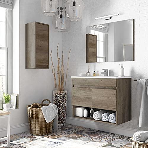 Miroytengo Conjunto mobiliario Aseo con Mueble suspendido 2 Puertas y Hueco, Espejo, lavamanos de pmma y Columna Colgante de diseño Actual y Moderno