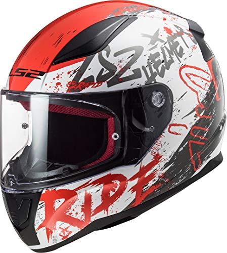 Ls2 Casco Moto Full Face Ff353 Rapid Naughty Unisex,Bianco/Rosso,Xl