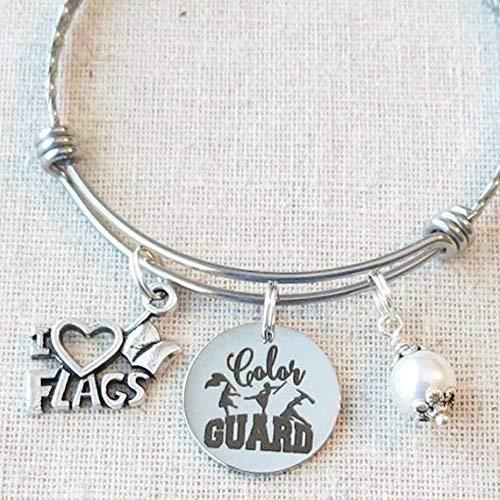 COLOR GUARD Flag Charm Bracelet, Color Guard Mom Bracelet, Color Guard I Love Flags Jewelry Gift, Color Guard Senior Grad Gift, Winter Guard Flag Charm Bracelet