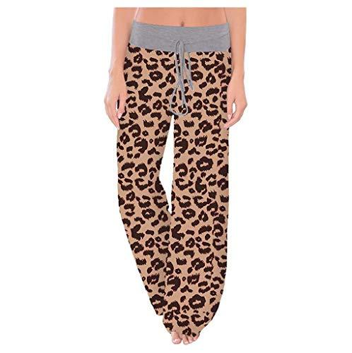 Shirt Luv Womens Comfy Stretch Leopard Print Drawstring Wide Leg Lounge Pants Coffee L Trousers for Women