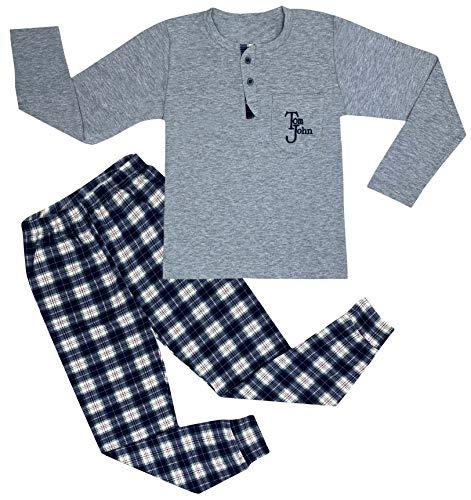 Heren pyjama lange set pyjama geblokte broek huispak nachtkleding lange mouwen M L XL XXL